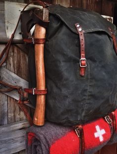 Reconditioned Vintage Swedish Army Canvas Rucksack with axe and wool blanket