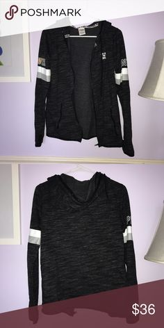 Grey VS Pink Sweatshirt Zip up gray pink hoodie with stripes on the sleeves and thumb holes PINK Victoria's Secret Tops Sweatshirts & Hoodies