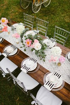Event design studio La Belle Boheme designed this modern garden-inspired tablescape for a bridal shower in Miami.