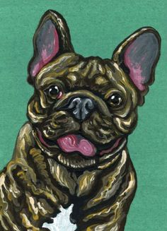 Buy ACEO ATC Original Painting Brindle French Bulldog Pet Dog Art-Carla Smale, Gouache painting by carla smale on Artfinder. Discover thousands of other original paintings, prints, sculptures and photography from independent artists.