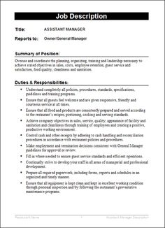 26 awesome job descriptions template form images job - Construction office manager job description ...