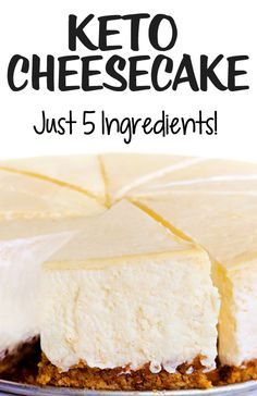 Even people who aren't on a keto diet LOVE this unbelievably creamy low carb cheesecake! (Can make a chocolate version by adding cocoa power too) keto cheesecake Easy Low Carb Keto Cheesecake Recipe Healthy Low Carb Recipes, Low Carb Dinner Recipes, Low Carb Desserts, Ketogenic Recipes, Low Carb Keto, Easy Desserts, Vegan Recipes, Ketogenic Diet, Dukan Diet