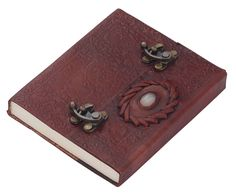 Bulk Wholesale 5x6 Inch Handmade Brown Color Notebook / Scrapbook / Sketchbook with an Embossed Leather Cover Decorated with a Faux Stone – Vintage-Look Writing Journals / Travel Diaries