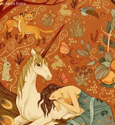 Agata Kawa, Le Jardin des Licornes Triptyque / The Garden of Unicorns Triptych Unicorn Illustration, Illustration Art, Magical Creatures, Fantasy Creatures, Unicorn Pictures, The Last Unicorn, Unicorns And Mermaids, Pegasus, Unicorn Art