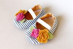 Stripes and Felt Baby Shoes