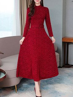 Women's Print Midi Patchwork Slim A Line Dress Long Sleeve Stand Collar Celebrity&Elegant Mid Waist dresses Stylish Dresses, Elegant Dresses, Fashion Dresses, Maxi Dresses, Ladies Dresses, Fashion Shoes, Cheap Dresses Online, Dress Silhouette, Maxi Dress With Sleeves
