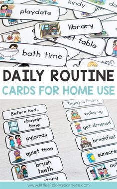 Routine Cards Daily routine cards for making visual timetable and schedules for toddlers, preschool, tot school and Kindergarten Visual Schedule Printable, Visual Schedule Preschool, Visual Schedule Autism, Schedule Cards, Preschool Routine, Visual Schedules, Printable Chore Cards, Daily Schedules, Daily Routine Chart For Kids