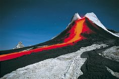 The lava of the Lengai volcano in Tanzania flows red, turns black when it cools, then goes white a few days later.