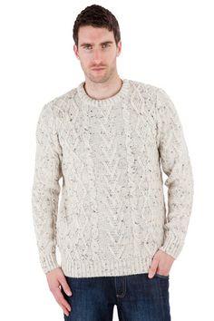 Horton - Aran Nepp Jumper - Pure British Wool - Mens Aran Jumper - Made in Great Britain   Sweateronline - Fine British Knitwear - Made in Great Britain