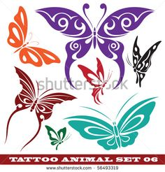 vector set: templates butterfly for tattoo and design on different topics