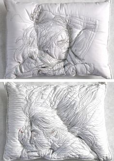 Embroidered pillow cases // modern embroidery // fiber art