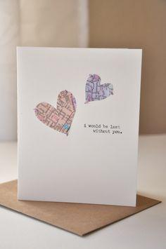 Handmade Anniversary Card - Valentine's Day Card - Handmade Greeting Card - Map Hearts - I miss you - Love Card. $8.00, via Etsy.