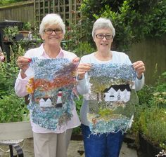 Pat & Janice with their wonderful fibre art, textile collages. Fibre Art, Textile Artists, Collages, Christmas Sweaters, Fiber, Students, Textiles, Colours, Quilts