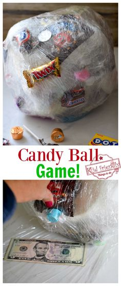 Saran Wrap Candy Ball Game Saran Wrap Candy Ball Game – Kids, teens, and adults love playing this Candy Ball Game at parties. It's the perfect game for Christmas, New Year celebrations. Birthday Party Games For Kids, Fun Party Games, 13th Birthday Parties, Sleepover Party, Kid Party Activities, Party Game Prizes, Adult Party Games, 11th Birthday, Craft Party