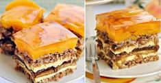 Broskyňový koláč s pudingom - Receptik.sk Spanakopita, Dessert Recipes, Desserts, Apple Pie, Tiramisu, Sweet Tooth, Food And Drink, Eat, Cooking