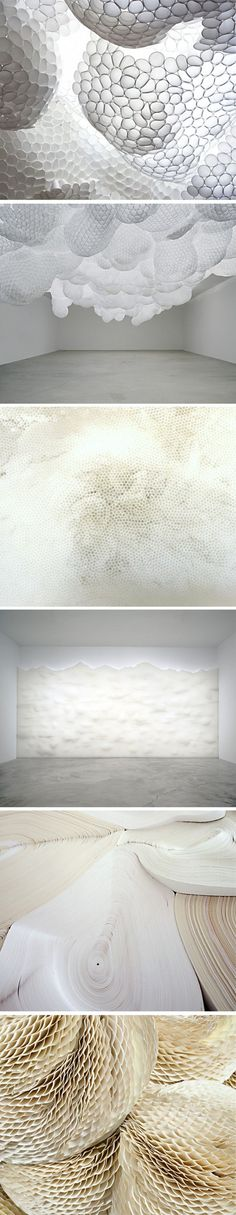 ∴ Tara Donovan - unconventional art from conventional objects (clear plastic cups, coffee filters, etc).