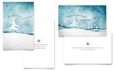Winter Landscape Greeting Card Template Design | StockLayouts