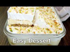 Dessert with 1/2 Liter Milk   Easy Dessert Recipe - YouTube Eggless Custard Recipe, Custard Recipes, Banana Recipes, Milk Recipes, Sweet Recipes, Cooking Recipes, Cold Desserts, Easy Desserts, Delicious Desserts