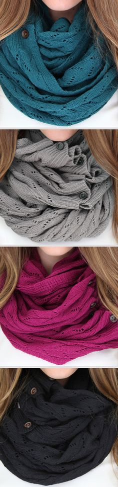 Lace-Knit Button Infinity Scarf