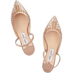 Jimmy Choo Genoa embellished metallic leather point-toe flats (€225) ❤ liked on Polyvore featuring shoes, flats, leather shoes, pointed toe flats, flat pointy toe shoes, pointed toe shoes and pointy-toe flats