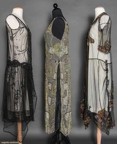FIVE BEADED/SEQUINED DRESSES, MID 3 tabards w/ sequins: 1 black, 1 pink, 1 white w/ black; 1 black net w/ gold, pink & blue embroidery & beading; 1 pink georgette w/ beaded purple & green streamers. Fashion 60s, Roaring 20s Fashion, Vintage Fashion, 20s Dresses, Vintage Dresses, Vintage Outfits, 1920s Looks, Flapper Style, Clothing And Textile