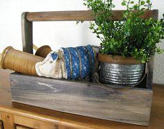 """Barnwood Look 15"""" x 6.5"""" Wood Toolbox - Farmhouse Decor Wooden Box with Handle - Farmhouse Table Decor - Wood Tool Caddy by FarmhouseHomeDecor on Etsy"""