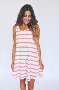 Striped Fine Knit Bow Back Dress - $44