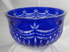 Ajka Cobalt Blue Heavy 24 Lead Cut to Clear Crystal Bowl 9 Mint Hungary | eBay