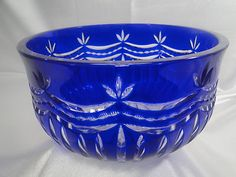 Ajka Cobalt Blue Heavy 24 Lead Cut to Clear Crystal Bowl 9 Mint Hungary | eBay