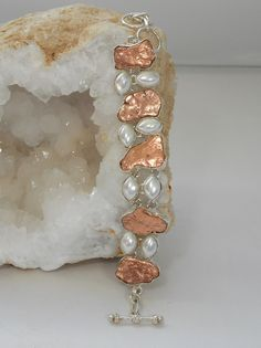 Native Copper and Pearl Bracelet.