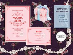 Wedding Invitation Set Printable Digital File PDF Card Customizable RSVP Save the Date Mendl's Patisserie Grand Budapest Hotel Film Pink - Please Email me to get the file(s) - chamelledesigns@gmail.com