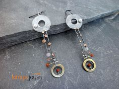 MUSICAL SENSE - silver, brass & copper earrings with gemstones - Silver Chamber - Unique jewellery & accessories made by artists