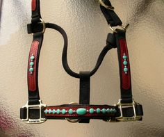 Nylon Halter w/Leather Overlay Turquoise Stones - Inspired Turquoise by <br />Red Turf Ranch Custom Tack