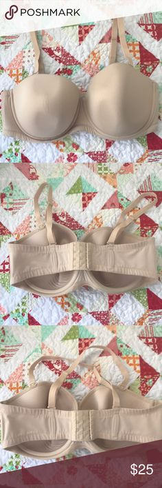 Wacoal underwire convertible bra Beautiful Wacoal bra worn a handful of times as a strapless bra. Has multiple conversions...regular, razorback, halter, and strapless. I've lost weight and this bra no longer fits. Small adhesive mark on the top of the left cup (please see photos), from fashion tape. Wacoal Intimates & Sleepwear Bras