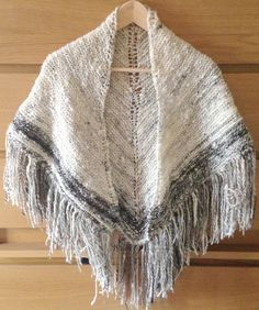 Hand knitted hand spun shawl, jacobs wool/yarn, natural undyed, whites, greys…