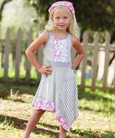 Love this Gray & Pink Stripe Handkerchief Dress - Girls by Freckles + Kitty on #zulily! #zulilyfinds