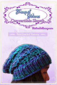 Tranquil Waves Convertible Slouch | Free Crochet Pattern | The Crochet Lounge™ (with matching arm warmer pattern link)
