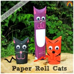 Paper rolls are just awesome and I LOVE our family of paper roll cats! Perfect for cat mad crafty kids!