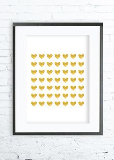 Gold Heart Print Gold Poster Gold Heart  Wall Decor by DeziDezi