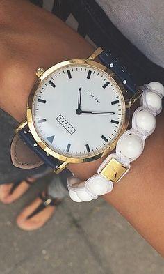 Portland watch with navy polka strap//