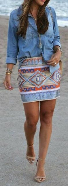 Love this skirt - colorful, Aztec/southwestern design and colors