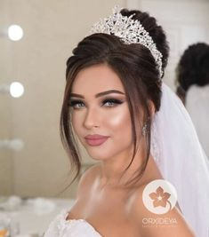 If I was that extra and wanted a tiara to hold my veil, this is what I'd have . - Idées de maquillage - If I was that extra and wanted a tiara to hold my veil, this is what I'd have . Wedding Makeup Tips, Natural Wedding Makeup, Bridal Hair And Makeup, Bride Makeup, Wedding Hair And Makeup, Wedding Hair Accessories, Hair Makeup, Glam Makeup, Makeup Cosmetics