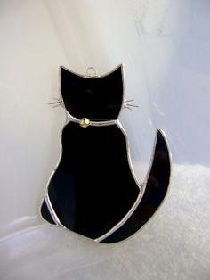 Black Cat Stained Glass Ornament Mothers Day Easter Birthday Gift Original Design Graduation Yule Solstice Decoration Valentines Gift. $26.00, via Etsy.