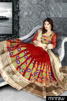 Beautiful bridal red and golden color net lehenga