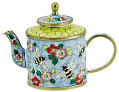 Kelvin Chen Enamel Mini Copper Handpaint Teapot Bumble Bee Hive   eBay