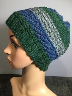 "Adult's Striped Hand Knit Winter Slouch/Cloche/Beanie Hat, Fits Heads 18""-21"" 7"" H, Textured Unisex Design, Acrylic Yarn, Fast Shipping Fabric Squares, Unisex Fashion, Beanie Hats, Hand Knitting, Winter Hats, Crochet Hats, Pattern, Etsy, Color"