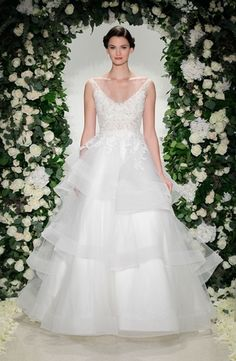 Anne Barge - V-Neck Ball Gown in Alencon Lace