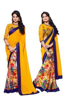 Mesmerizing Floral Printed Designer Yellow Chiffon Saree D-102 | Saris and Things