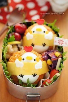 こんにちは^^今日のお弁当は、Maiちゃん の巻かれちゃってるお弁当シリーズのアイディアをお借りしました~~♪かわいくってかわいくって、マネして作ってみたいな…