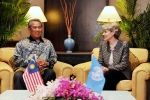 Malaysian Deputy Prime Minister Tan Sri Muhyiddin Yassin meets with Irina Bokova (right) Director General of the United Nations Educational, Scientific and Cultural Organisation (UNESCO) in Kuala Lumpur, Malaysia on 21 May 2013 Irina Bokova, United Nations, Prime Minister, Kuala Lumpur, World Heritage Sites, Meet, Culture, Education, Organisation